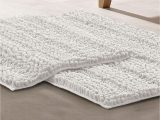 White Bath Rug Set Modern Threads Chenille Noodle Bath Mat 2 Piece Set White