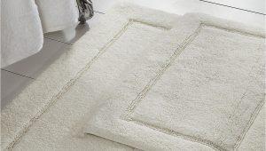 White Bath Rug Set Modern Threads White solid Loop Non Slip Bath Mat 2 Piece Set