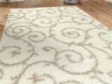 "White Fluffy area Rug 8×10 Cozy Contemporary Scroll Cream White 7 10"" X 10 Indoor Shag area Rug"