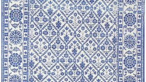White Rug with Blue Pattern Vintage Blue and White Indian Agra Cotton Rug 48300
