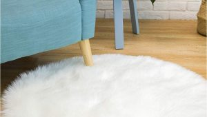 White soft Fluffy area Rug Ciicool soft Faux Sheepskin Fur area Rugs Round Fluffy Rugs for Bedroom Silky Fuzzy Carpet Furry Rug for Living Room Girls Rooms White 3 X 3 Feet