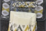 Yellow and Grey Bath Rug 18 Piece Bath Rug Silver Grey Gold Print Bathroom Rugs Shower Curtain Rings and towels Sets Keena Yellow