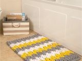 Yellow and White Bath Rug Yellow White and Grey Patterned Bath Mat In 2020
