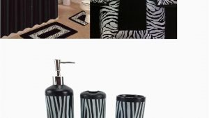 Zebra Print Bath Rug 19 Piece Bath Accessory Set Black Zebra Animal Print Bath Rug Set Black Zebra Shower Curtain & Accessories Walmart